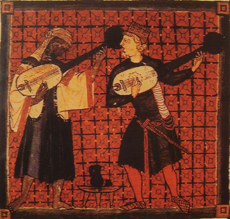 A Muslim and a Christian playing dueling banjos (13th century).